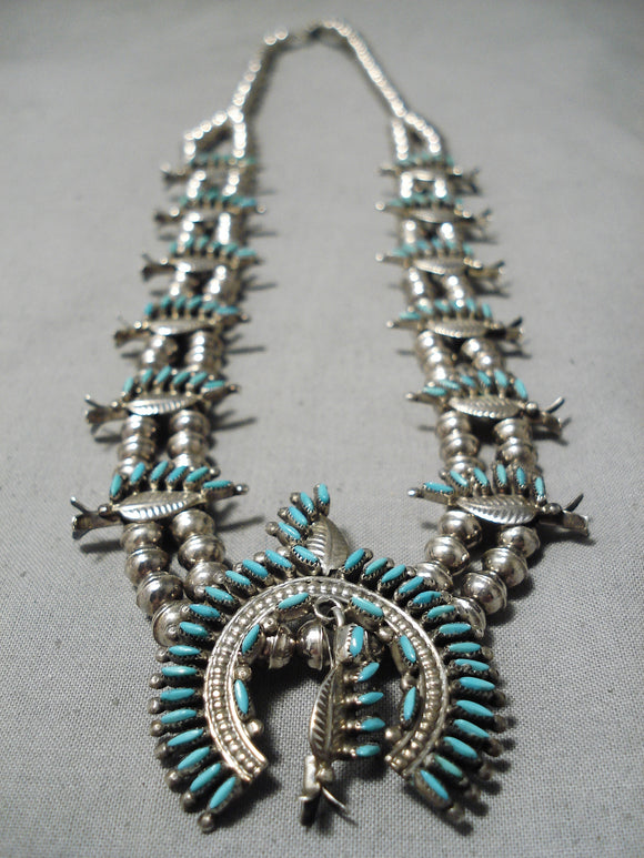 Petite Vintage Native American Zuni Native Turquoise Sterling Silver Squash Blossom Necklace