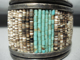 One Of The Best Ever Vintage Native American Navajo Turquoise Heishi Sterling Silver Bracelet