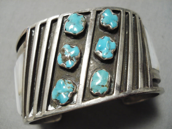 Native American Important Huge Heavy Vintage Zuni Turquoise Sterling Silver Inlay Bracelet