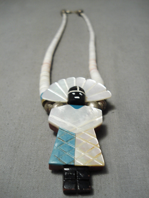 Native American Superior Vintage Santo Domingo Hand Carved Turquoise Sterling Silver Necklace
