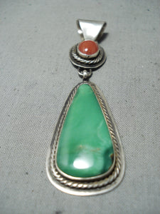 Tommy Jackson Vintage Native American Navajo Damale Turquoise Sterling Silver Pendant Old