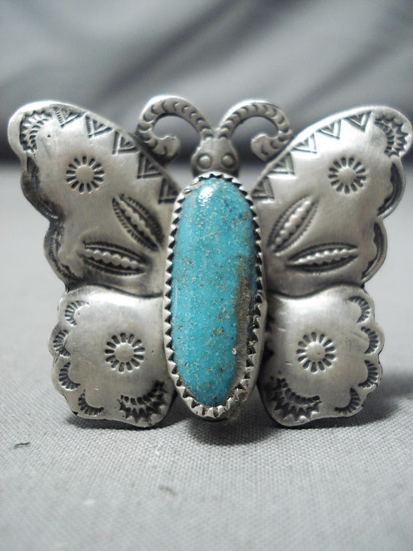 Whimsical Native American Navajo Kingman Turquoise Sterling Silver Butterfly Ring