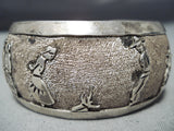 Astonishing Vintage Native American Navajo Sterling Silver Storyteller Bracelet