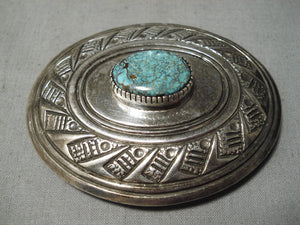 Impressive Vintage Native American Navajo Carico Lake Turquoise Sterling Silver Buckle Or Pendant