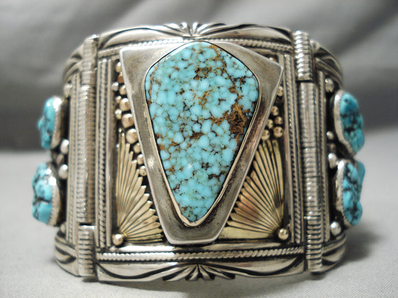Very Important Vintage Native American Navajo Gibson Nez Sterling Silver 14k Gold Clasp Bracelet