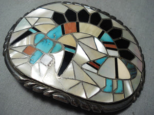 Best Vintage Native American Zuni Rich Kallestewa Turquoise Inlay Sterling Silver Buckle