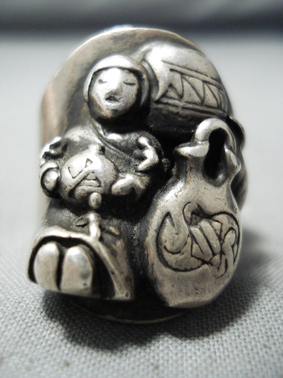 Exceptional Vintage Navajo Sterling Silver Storyteller Ring Native American Old