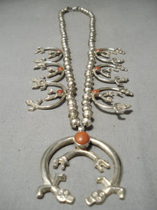 Incredible Vintage Native American Navajo Coral Sterling Silver Squash Blossom Necklace