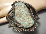 One Of Best Vintage Native American Navajo Royston Turquoise Sterling Silver Leaf Bracelet Old