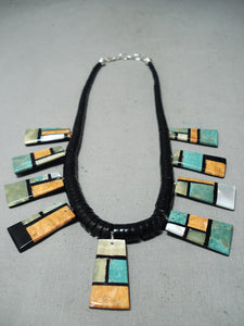So Detailed!! Native American Santo Domingo Turquoise Inlay Necklace