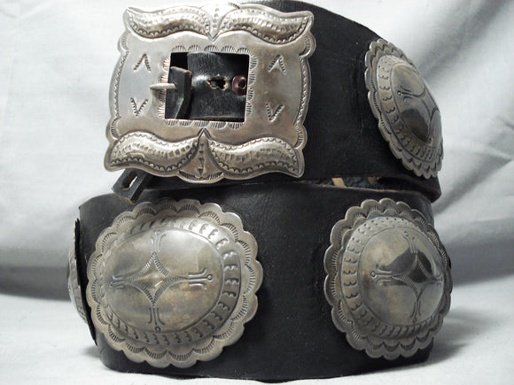 Early Heavy Vintage Native American Navajo Hand Tooled Sterling Silver Concho Belt Old