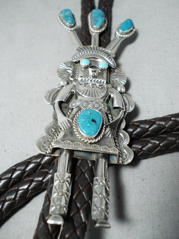 Towering Longer Vintage Native American Navajo Hale Turquoise Kachina Sterling Silver Bolo Tie