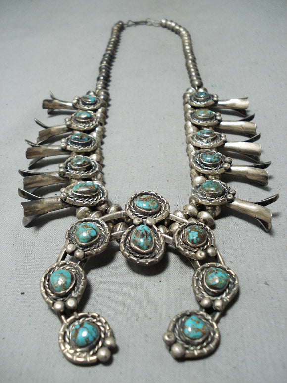 Women's Vntage Native American Navajo Bisbee Turquoise Sterling Silver Squash Blossom Necklace