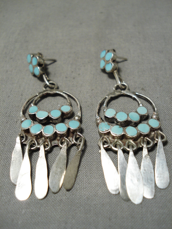 Fab Vintage Native American Zuni Turquoise Sterling Silver Chandelier Earrings