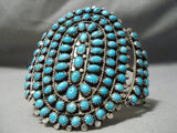 Museum Vintage Native American Navajo Tears Of Turquoise Sterling Silver Bracelet Old