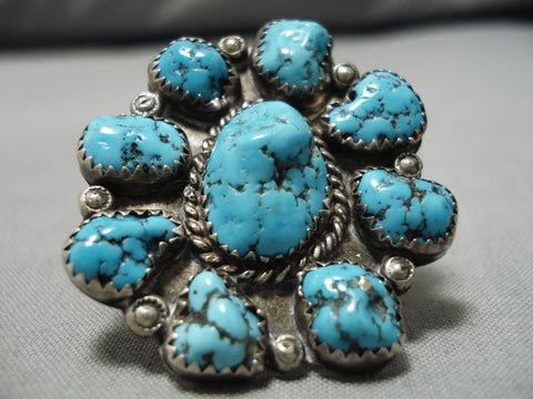 Exquisite Vintage Native American Navajo Ray Tom Chunky Blue Turquoise Sterling Silver Ring