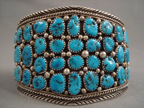55 Old Kingman Turquoise Stones! Vintage Navajo Sterling Native American Jewelry Silver Bracelet Old-Nativo Arts