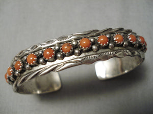 Incredible Vintage Native American Navajo Coral Snake Eyes Sterling Silver Bracelet