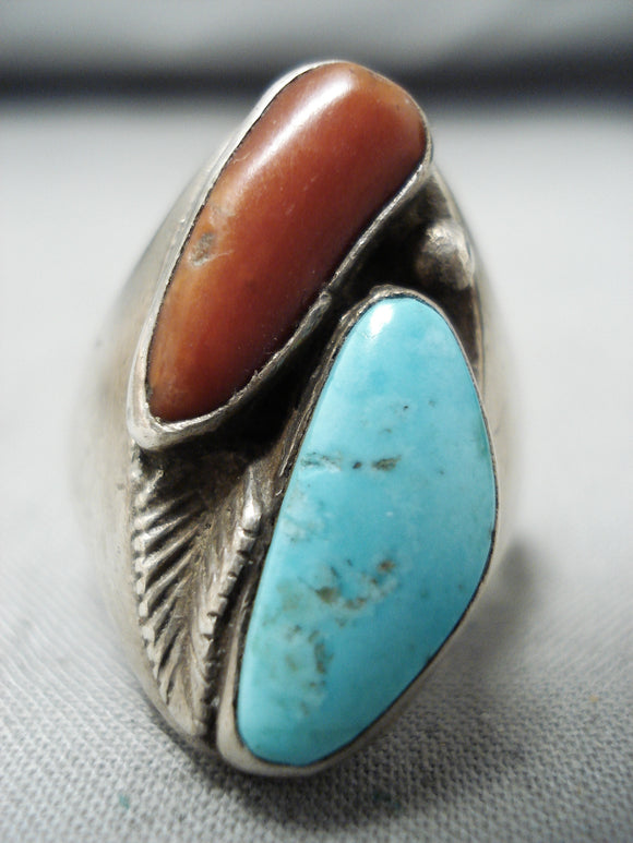 Remarkable Vintage Native American Navajo Blue Gem Turquoise & Coral Sterling Silver Ring