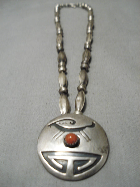 Rare Artistic Vintage Native American Navajo Coral Sterling Siilver Ancient Deer Necklace Old