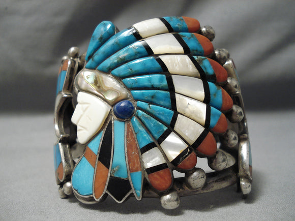 Biggest Best Vintage Native American Navajo Zuni Chief Turquoise Inlay Sterling Silver Bracelet