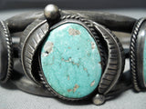 Heavy Unique Stamp Nhmss Vintage Native American Navajo Turquoise Sterling Silver Bracelet