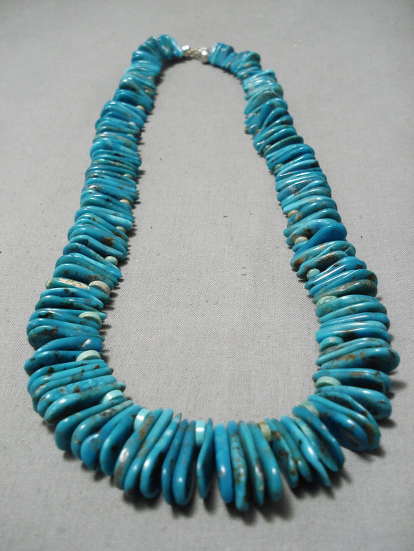 Remarkable Vintage Native American Navajo Tears Of Joy Turquoise Sterling Silver Necklace