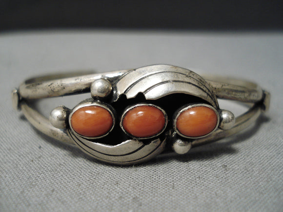 Marvelous Vintage Navajo Coral Sterling Silver Bracelet Native American Old