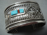 Stanford Yazzie Impressive Native American Navajo Turquoise Coral Sterling Silver Bracelet