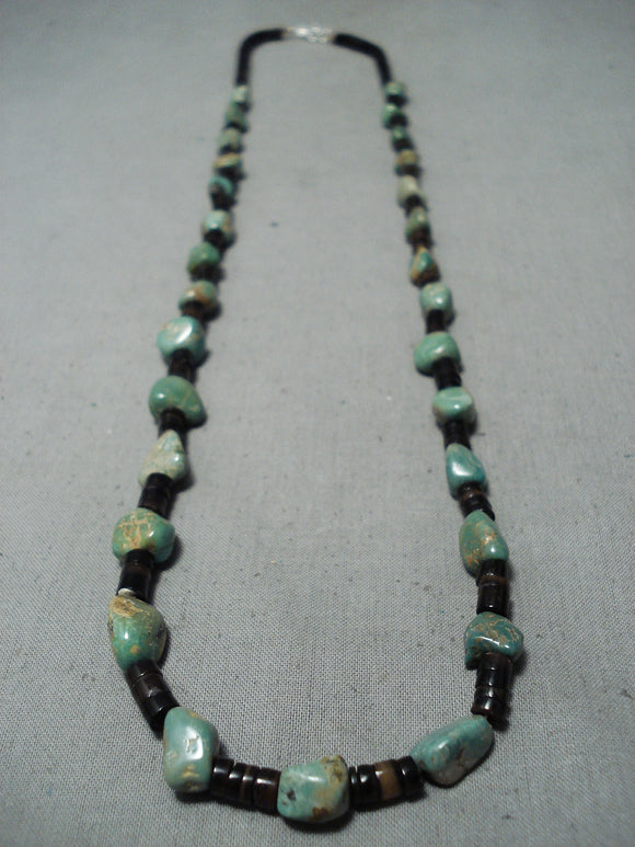 Fantastic Santo Domingo Royston Turquoise Heishi Necklace Native American