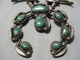Rare Vintage Native American Navajo Royston Turquoise Sterling Silver Squash Blossom Necklace
