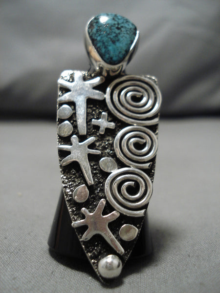 Important Vintage Native American Navajo Arrowhead Spiderweb Turquoise Sterling Silver Ring