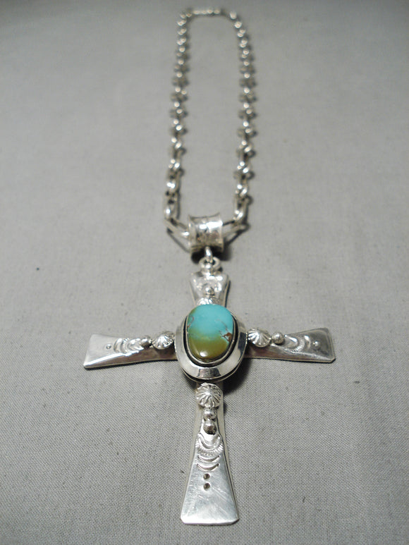 Heavy Cross Native American Navajo Royston Turquoise Sterling Silver Necklace