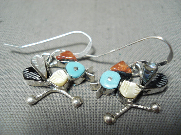Detailed Hummingbird Vintage Native American Zuni Turquoise Sterling Silver Inlay Earrings