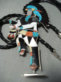 One Of The Biggest Ever Vintage Native American Zuni Turquoise Sterling Silver Bolo Tie
