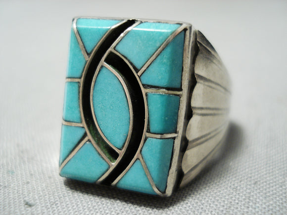 Important Detailed Vintage Native American Navajo Nelson Lee Turquoise Sterling Silver Ring