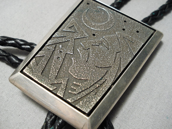 Important Vintage Native American Navajo Richard Tsosie Sterling Silver Bolo Tie Old