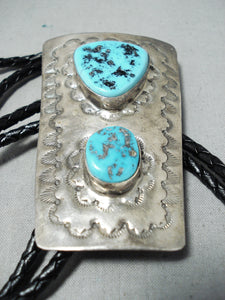 Incredible Vintage Native American Navajo Sleeping Beauty Turquoise Sterling Silver Bolo