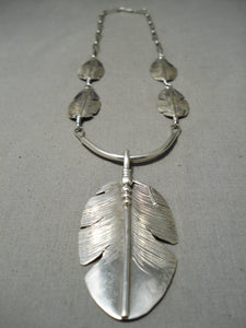 Feather Master Intricate Detailed Native American Navajo Sterling Silver Feather Necklace