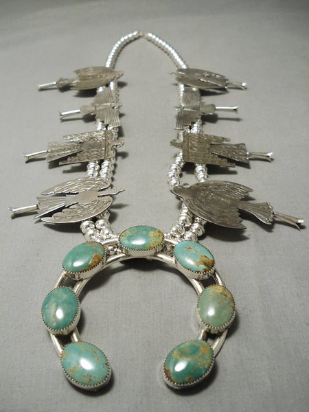Quality Royston Turquoise Sterling Silver Bird Native American Navajo Squash Blossom Necklace
