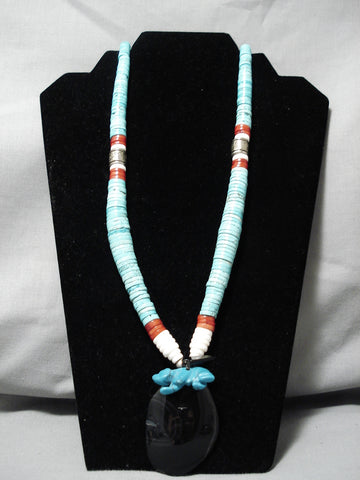 Rare Longer!! Vintage Navajo Spiderweb Turquoise Native American Necklace
