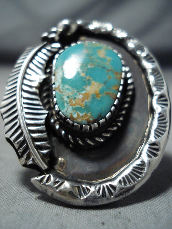 Exceptional Navajo Royston Turquoise Sterling Silver Ring Native American