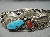 Magnificent Vintage Native American Navajo Sterling Silver Swirl Garden Turquoise Bracelet