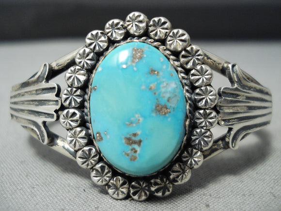 Amazing Vintage Native American Navajo Sleeping Beauty Turquoise Sterling Silver Bracelet