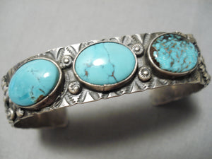 Incredible Vintage Native American Navajo Blue Diamond Turquoise Sterling Silver Bracelet Old