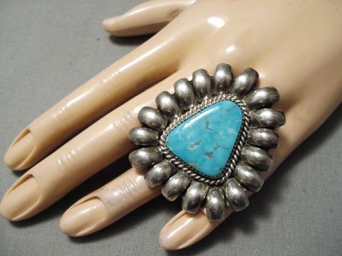 Huge Vintage Native American Navajo Carico Lake Turquoise Sterling Silver Ring Old