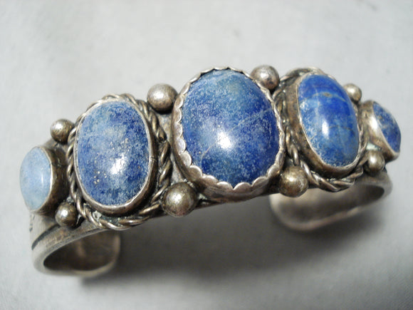 Thick Vintage Native American Navajo Lapis Sterling Silver Bracelet Cuff