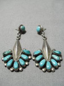Important Vintage Native American Zuni Bill Lou Sterling Silver Turquoise Earring Sold