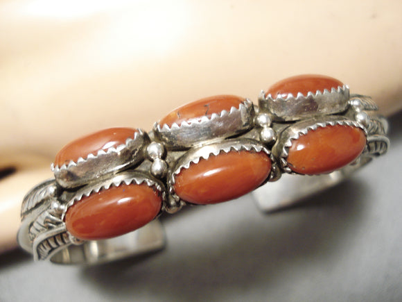 Thick Heavy Sturdy Vintage Native American Navajo Coral Sterling Silver Bracelet Old