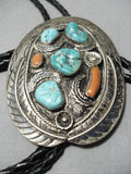 Huge Vintage Native American Navajo Coral Turquoise Sterling Silver Leaf Bolo Tie Old